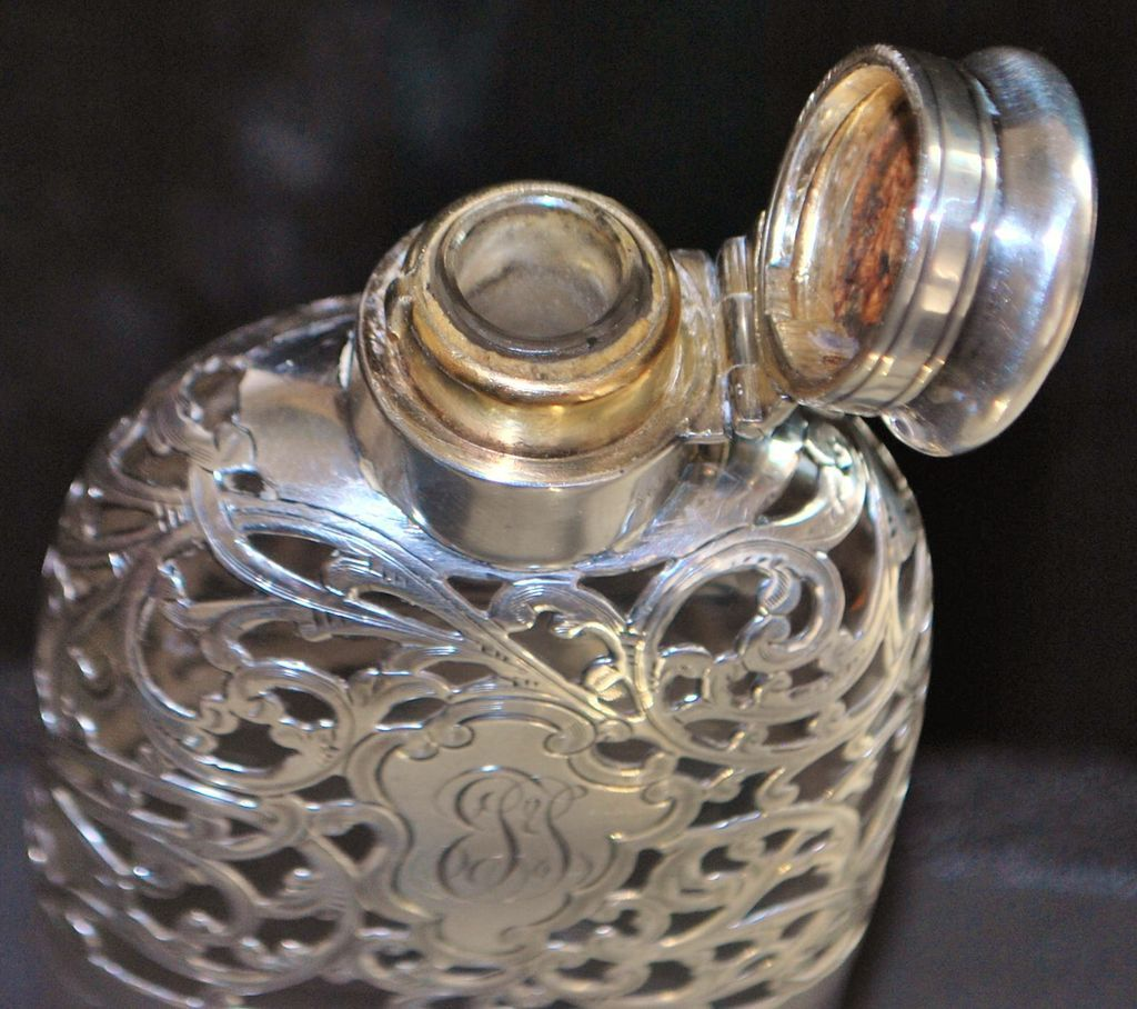 Gorham Sterling Overlay Pocket Flask, 1898
