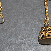 12K GF Watch Chain with Fancy Fob -c.1910