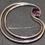 Large Sierra Sterling Silver Amethyst Brooch - 1980's