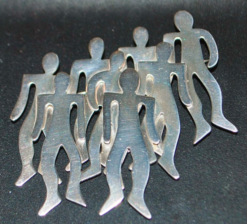 Large Sterling Modernist Brooch - 1980's