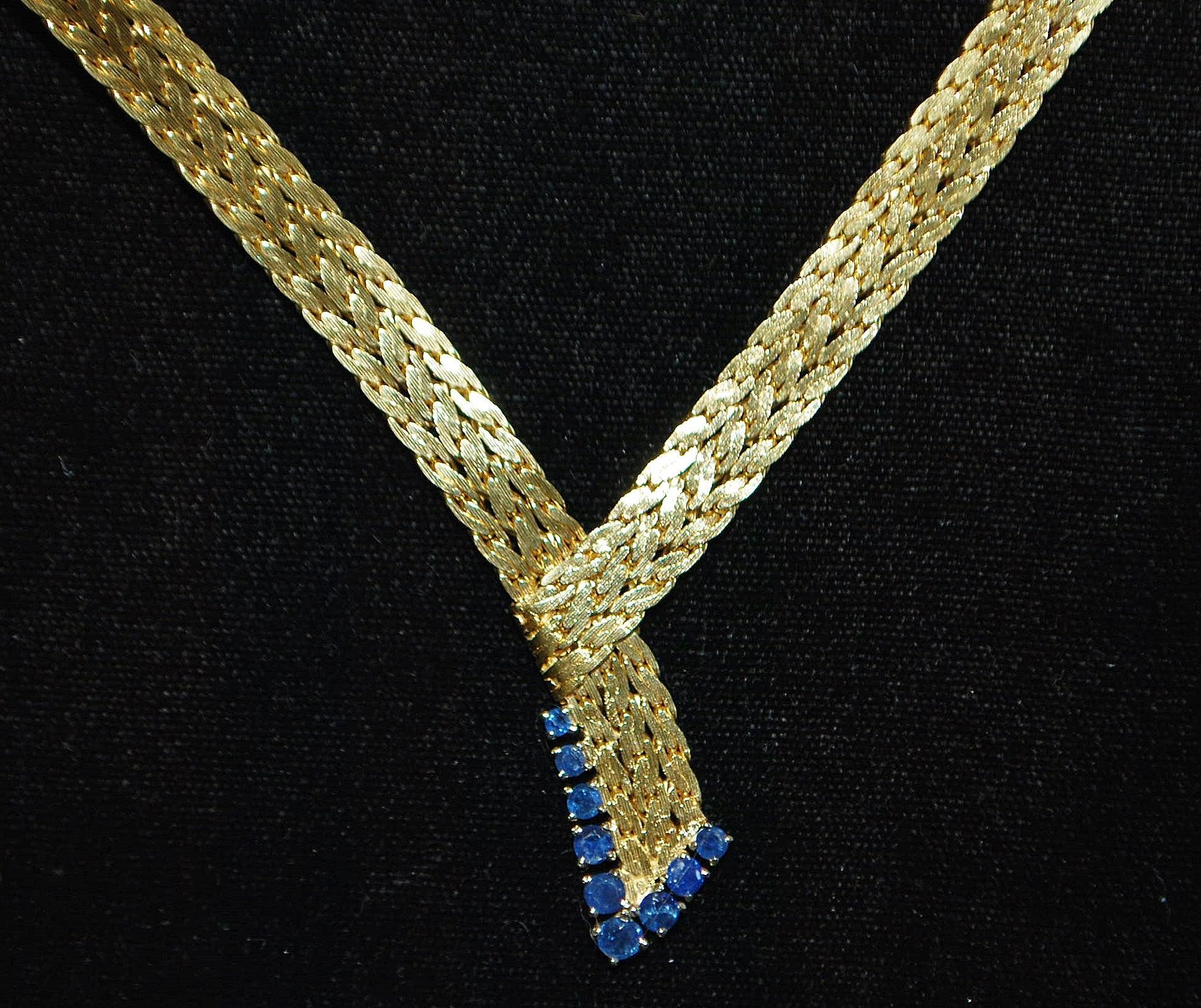 Fine 18K Gold Necklace with Blue Sapphires - Custom