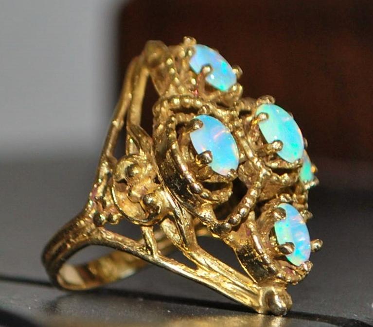 14k Large Opal Dinner Ring - 1960's