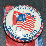 V.E. Day Victory Button World War II - 1945