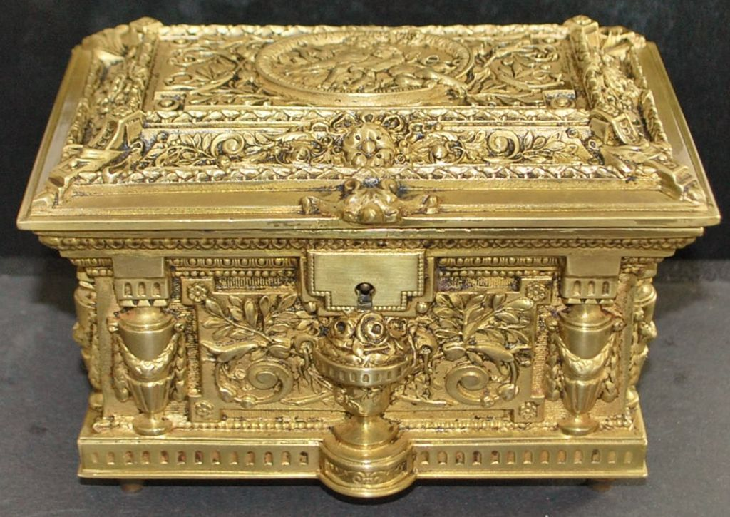 French Bronze Fancy Jewelry Casket, c. 1875