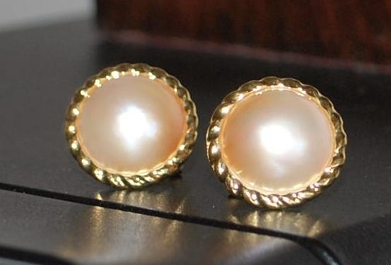 Pair of 14K Mabe Pearl  Earrings - 1980's