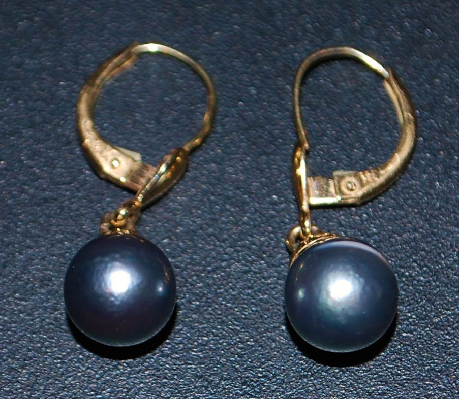 14K 7mm Gray Cultured Pearl Earrings - 1980's