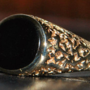 14k Fancy Man's Black Onyx  Signet Ring - 1950's