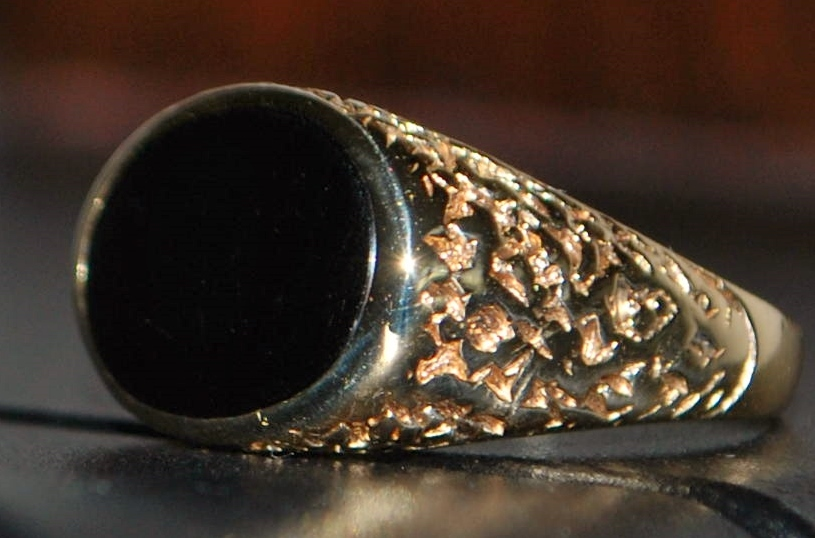 14k Fancy Man's Black Onyx  Signet Ring - 1950's