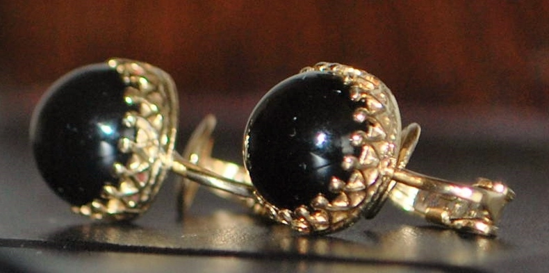 Pair of 14K  Black Onyx Clip Earrings- 1940's