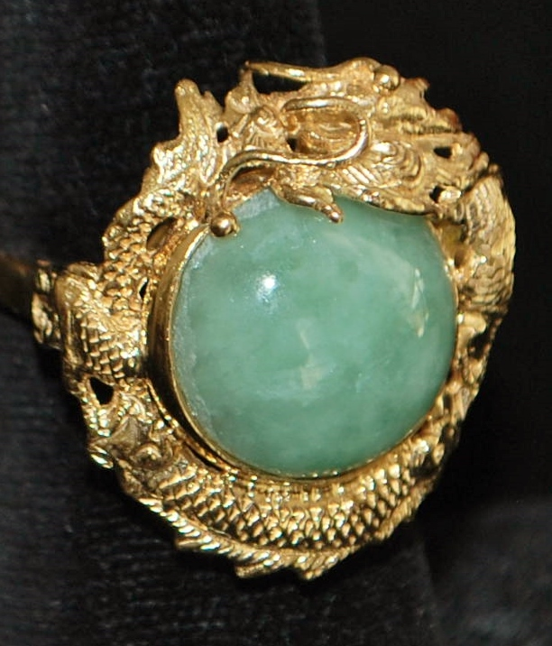 14k Jade Dragon Ring - 1970's
