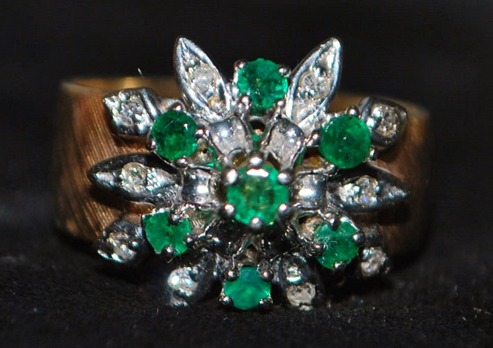 14K  Emerald and Diamond Ring - 1960's