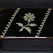 French Papier Mache Inlaid Pewter Snuff Box -1850's