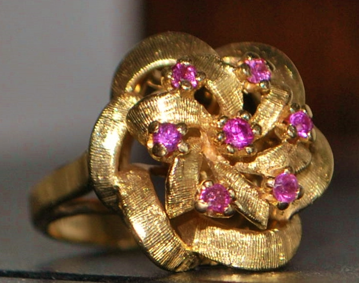 14K Florentine Ruby Cocktail Ring - 1960's