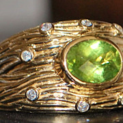 14K Man's Peridot and Diamond Ring - 1980's