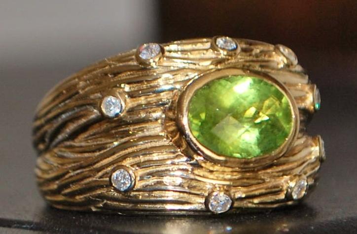 14K Man's Peridot and Diamond Ring - 1980's