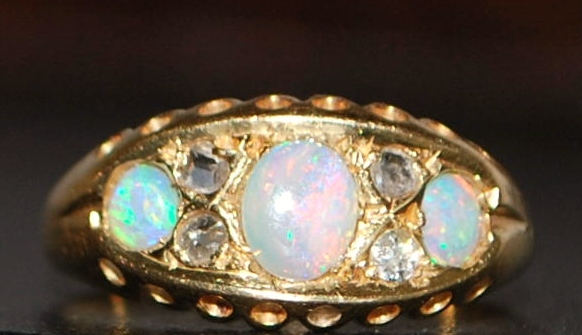 18K English Opal and Diamond Ring - 1917