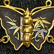 Japanese Amita Damascene Butterfly Necklace - 1960's