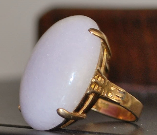 14K Large Lavender Jade Dinner Ring - 1970's