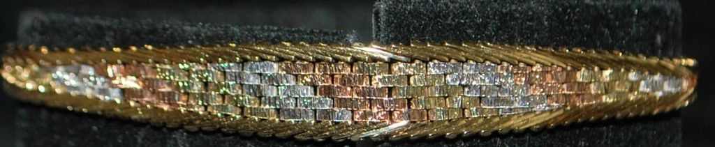 14K Italian Tri-color Gold  Woven Bracelet - 1980's