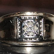 10K Man's Diamond Ring - 1940's