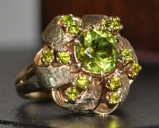 14K  Retro Peridot Fashion Ring - 1960's