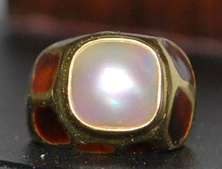 14K Mabe Pearl and Enamel Fashion Ring - 1980's