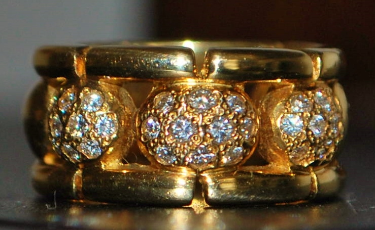 18k Pave Diamond and Gold Ball Designer Ring -1980's