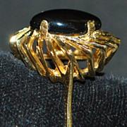 14K Mid-Century Modern Onyx Ring - 1960's
