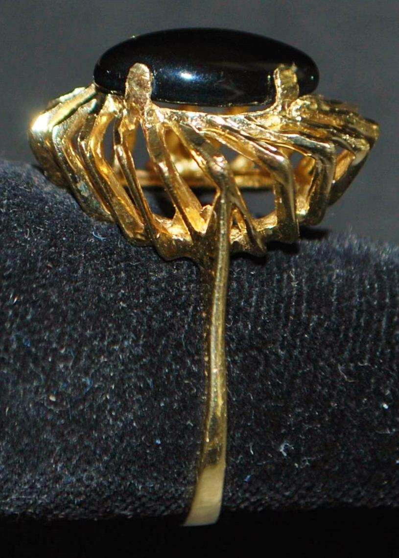 14K Modernist Onyx Ring - 1960's
