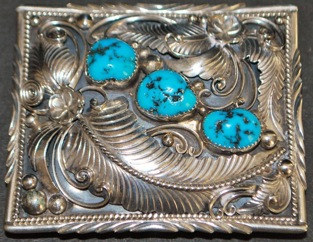 Sterling and Turquoise W. Denet  Dale Belt  Buckle