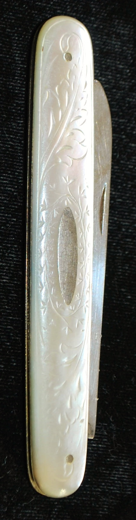 English Lady's Sterling Silver and MOP Purse Knife - 1888