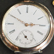Swiss 800 Silver  Open Face KWKS Pocket Watch - 1890