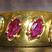 18K Italian Ruby and Diamond Band- 1980's