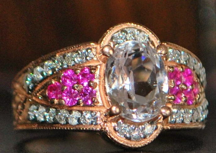 14K r/g Kunzite, Ruby and Diamond Ring