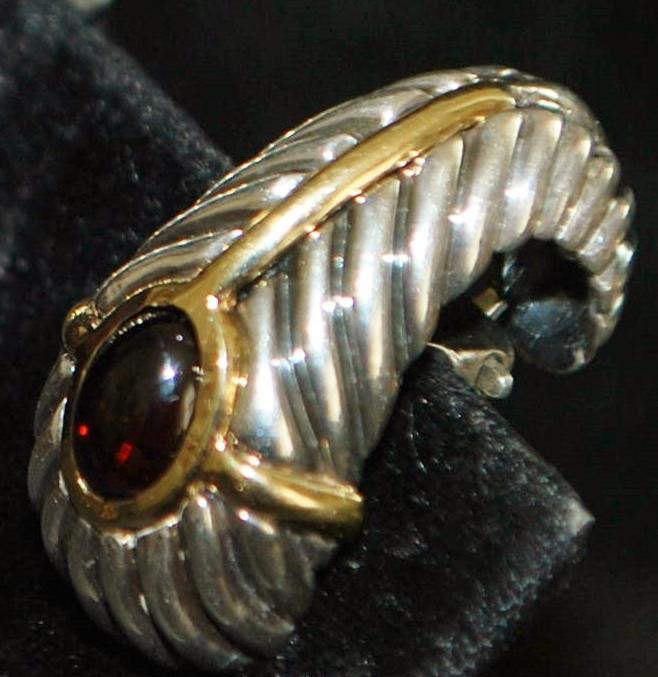 Pair of Italian  18K, Sterling Silver,  Garnet Earrings