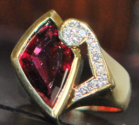 14K Custom 4ct Rubellite and Diamond Ring - 1980's