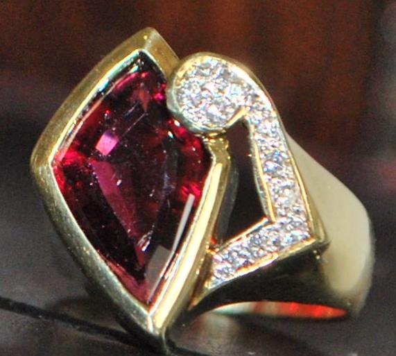 14K Custom 4ct Rubellite and Diamond Ring - 1980's