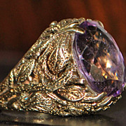 14K Retro Amethyst Dinner Ring - 1960's