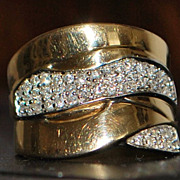 14K Pave Diamond Custom Made Ring - 1980's