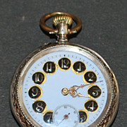 Swiss 800 Silver Enamel OF Pocket Watch - 1900