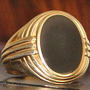 14K Art Deco Man's Onyx Signet Ring - 1930's