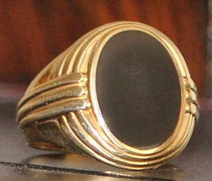 14K Art Deco Man's Onyx Signet Ring - 1930's