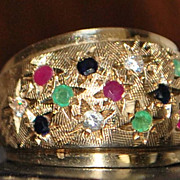 14K Retro Multi-Colored Stone Dome Ring - 1960's