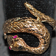14K Retro Cobra Snake Ring - 1940's