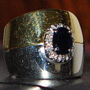 18K Custom Two Tone Sapphire and Diamond Ring - 1980's