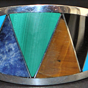 Colorful 950 Silver Multi-stone Inlaid Bracelet - 1980's