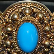 Portuguese Large 833 Silver Enamel Filigree Bracelet