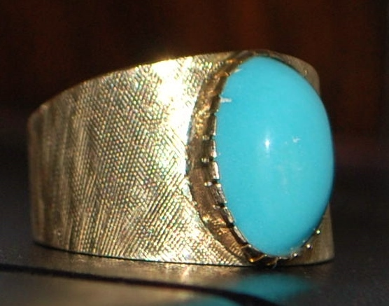 14K Persian Turquoise Florentine Ring - 1960's