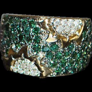 14K Tourmaline and Diamond Pave Ring - 1980's