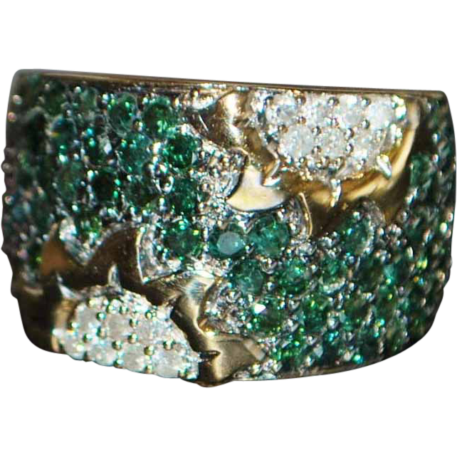 14K Tourmaline and Diamond Pave Ring - 1980's